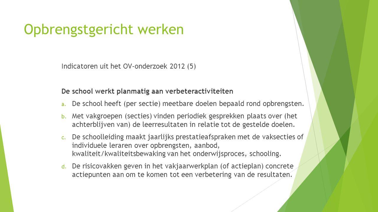 Opbrengstgericht werken Indicatoren uit het OV-onderzoek 2012 (5) De school werkt planmatig aan verbeteractiviteiten a. De school heeft (per sectie) m