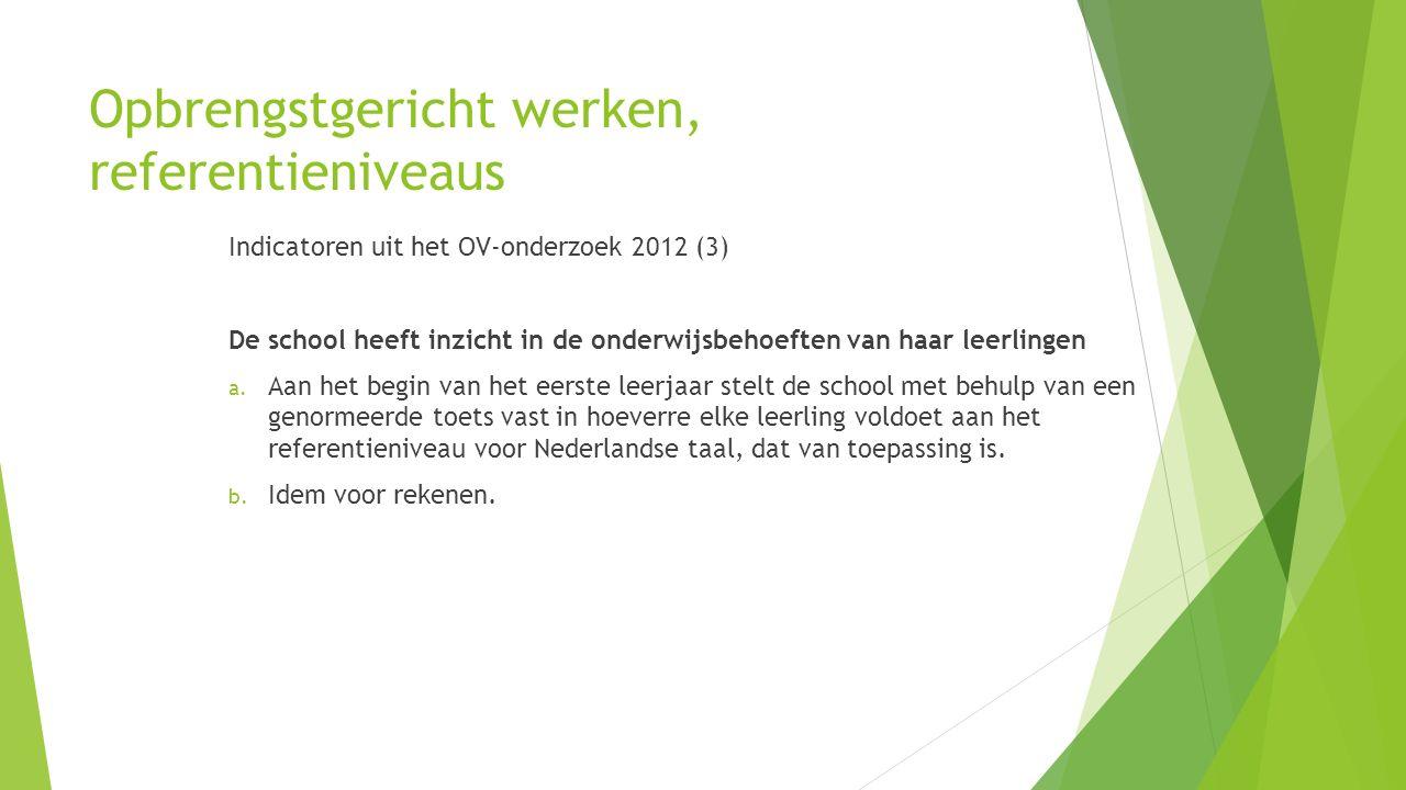 Opbrengstgericht werken, referentieniveaus Indicatoren uit het OV-onderzoek 2012 (3) De school heeft inzicht in de onderwijsbehoeften van haar leerlin