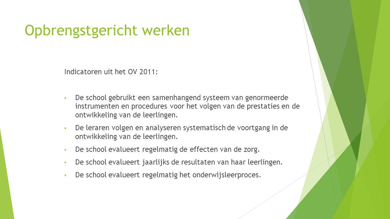 Opbrengstgericht werken Indicatoren uit het OV-onderzoek 2012 (1) De leraren geven de leerlingen inhoudelijk feedback a.