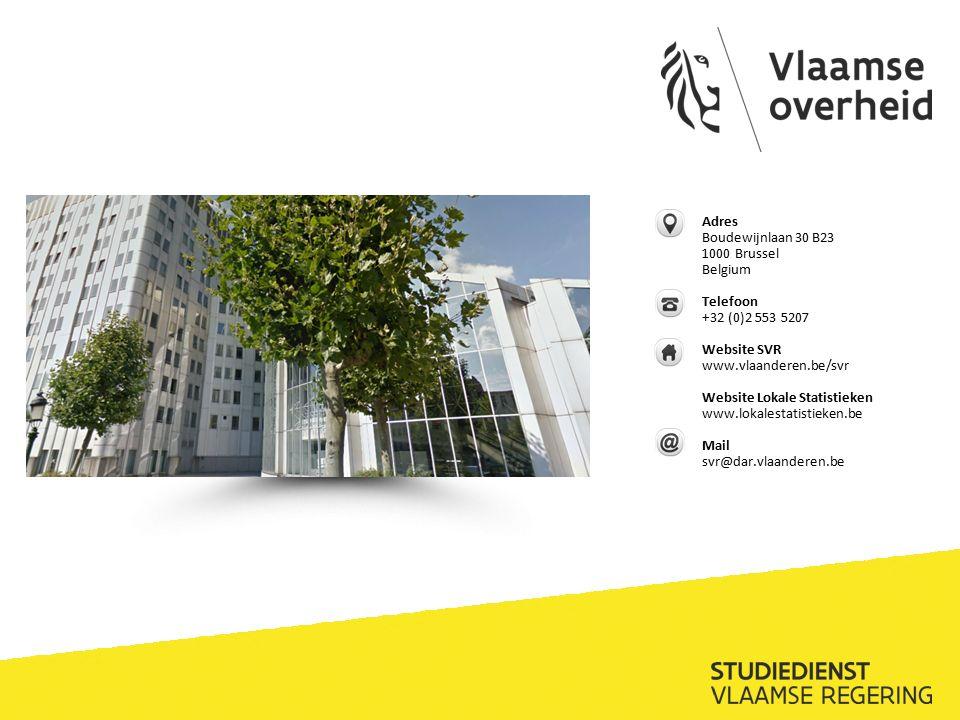 Adres Boudewijnlaan 30 B23 1000 Brussel Belgium Telefoon +32 (0)2 553 5207 Website SVR www.vlaanderen.be/svr Website Lokale Statistieken www.lokalestatistieken.be Mail svr@dar.vlaanderen.be