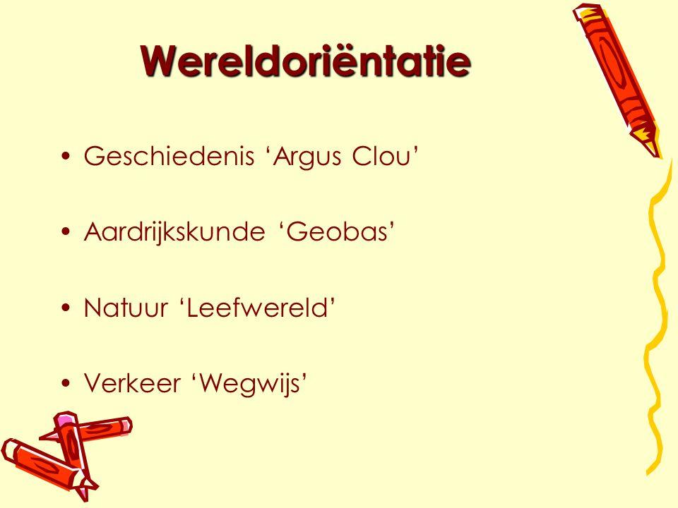 Wereldoriëntatie Geschiedenis 'Argus Clou' Aardrijkskunde 'Geobas' Natuur 'Leefwereld' Verkeer 'Wegwijs'