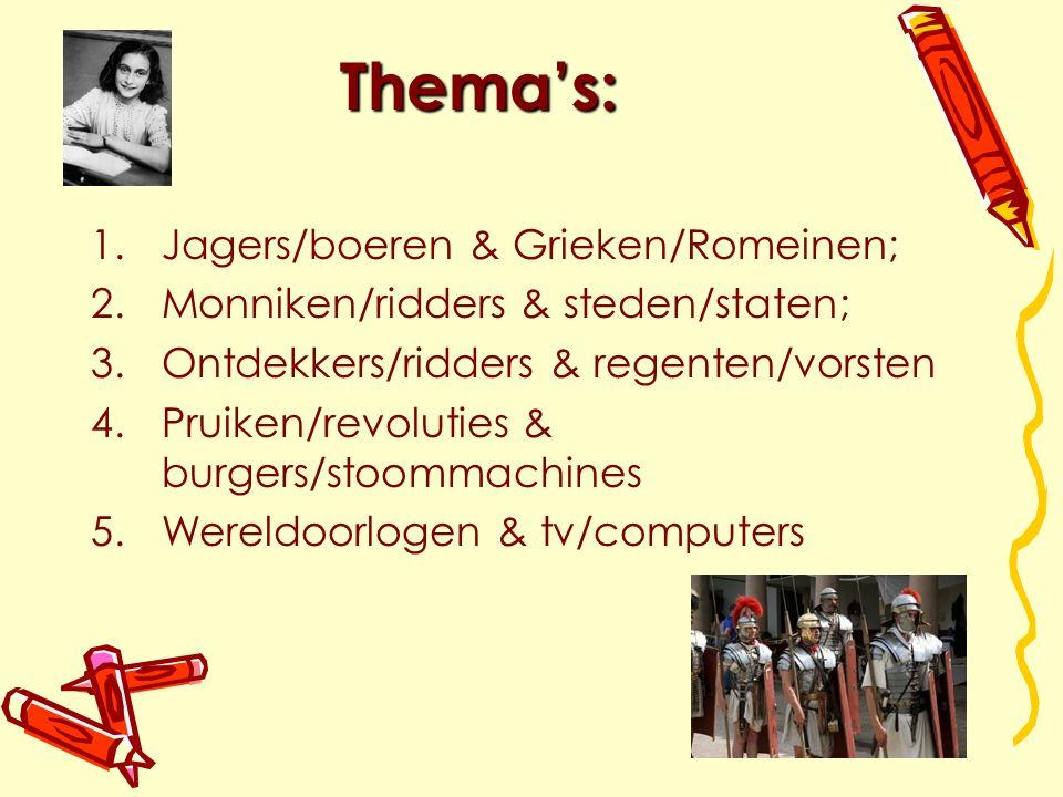 Thema's: 1.Jagers/boeren & Grieken/Romeinen; 2.Monniken/ridders & steden/staten; 3.Ontdekkers/ridders & regenten/vorsten 4.Pruiken/revoluties & burgers/stoommachines 5.Wereldoorlogen & tv/computers