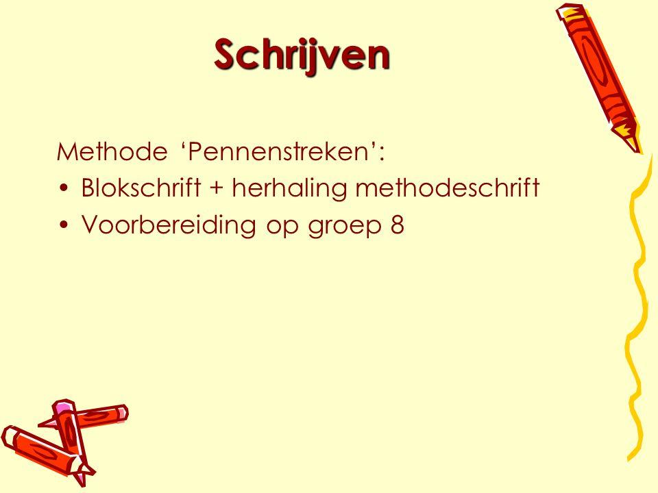 Schrijven Methode 'Pennenstreken': Blokschrift + herhaling methodeschrift Voorbereiding op groep 8