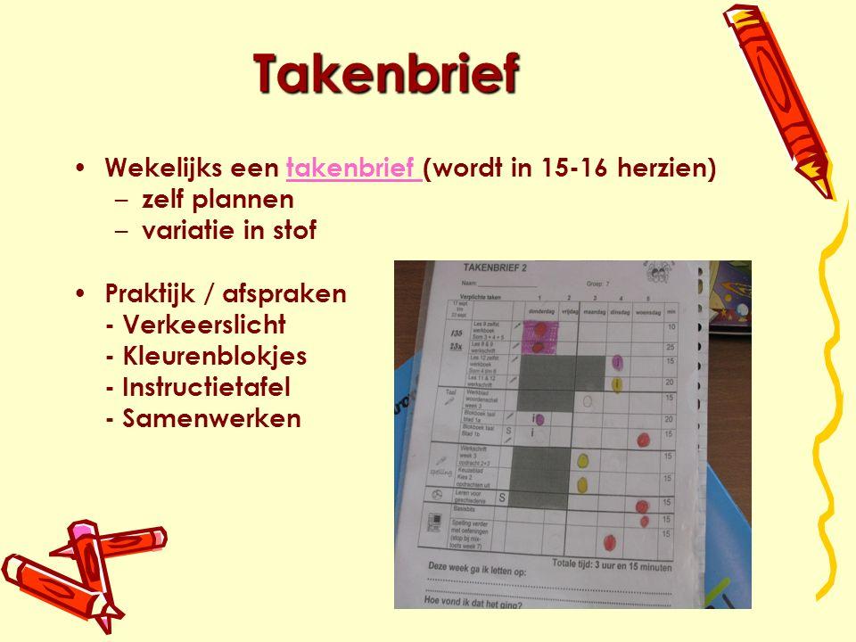 Takenbrief Wekelijks een takenbrief (wordt in 15-16 herzien)takenbrief – zelf plannen – variatie in stof Praktijk / afspraken - Verkeerslicht - Kleurenblokjes - Instructietafel - Samenwerken