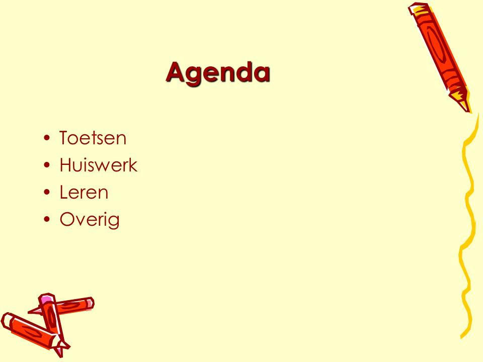 Agenda Toetsen Huiswerk Leren Overig