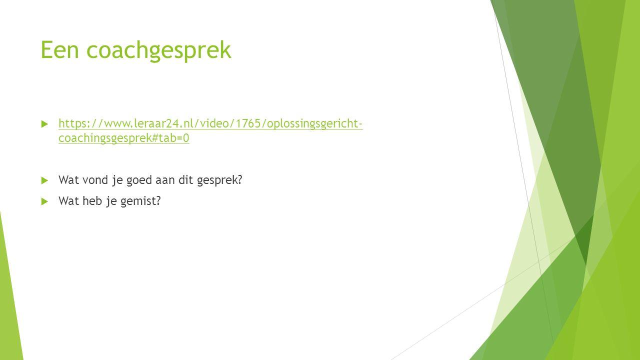 Een coachgesprek  https://www.leraar24.nl/video/1765/oplossingsgericht- coachingsgesprek#tab=0 https://www.leraar24.nl/video/1765/oplossingsgericht- coachingsgesprek#tab=0  Wat vond je goed aan dit gesprek.
