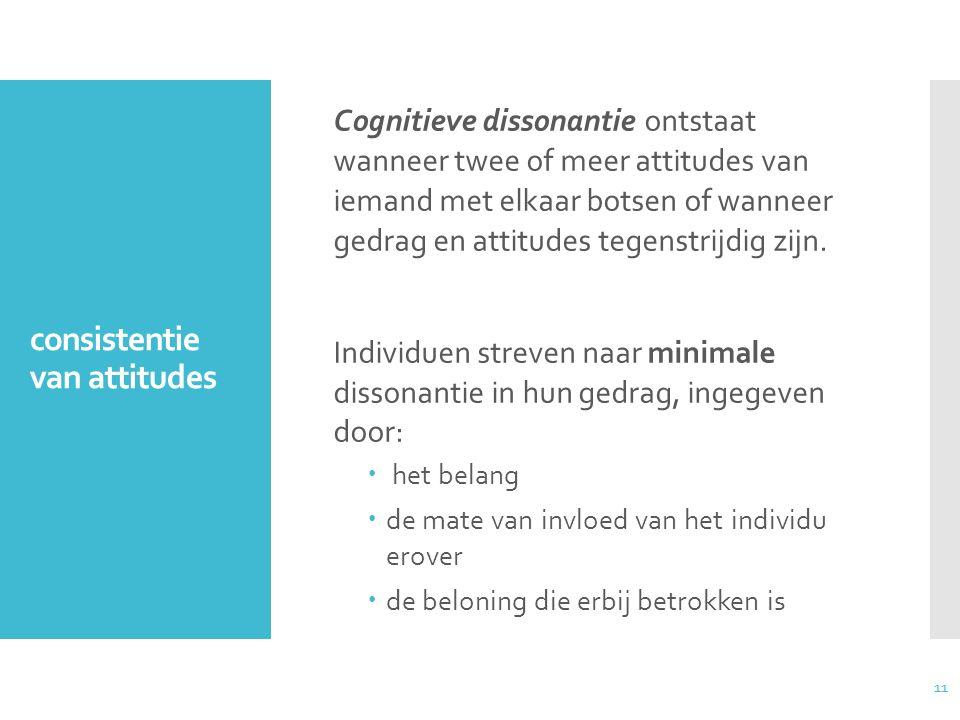 11 consistentie van attitudes Cognitieve dissonantie ontstaat wanneer twee of meer attitudes van iemand met elkaar botsen of wanneer gedrag en attitud
