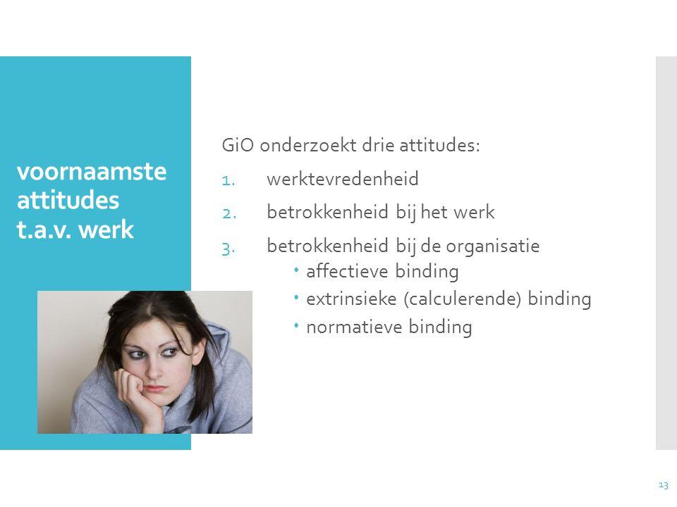 13 voornaamste attitudes t.a.v. werk GiO onderzoekt drie attitudes: 1.werktevredenheid 2.betrokkenheid bij het werk 3.betrokkenheid bij de organisatie