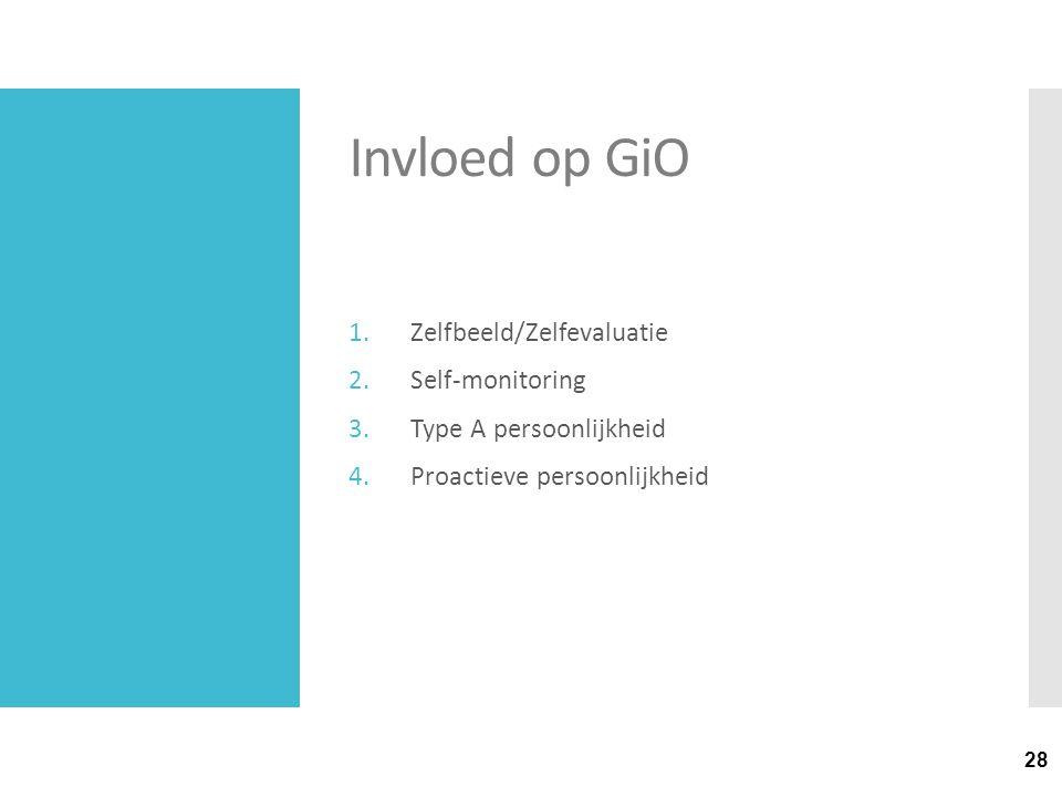 28 Invloed op GiO 1.Zelfbeeld/Zelfevaluatie 2.Self-monitoring 3.Type A persoonlijkheid 4.Proactieve persoonlijkheid