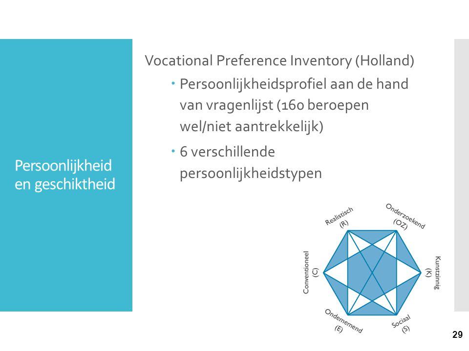Persoonlijkheid en geschiktheid Vocational Preference Inventory (Holland)  Persoonlijkheidsprofiel aan de hand van vragenlijst (160 beroepen wel/niet