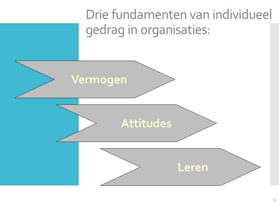 5 Drie fundamenten van individueel gedrag in organisaties: Vermogen Attitudes Leren