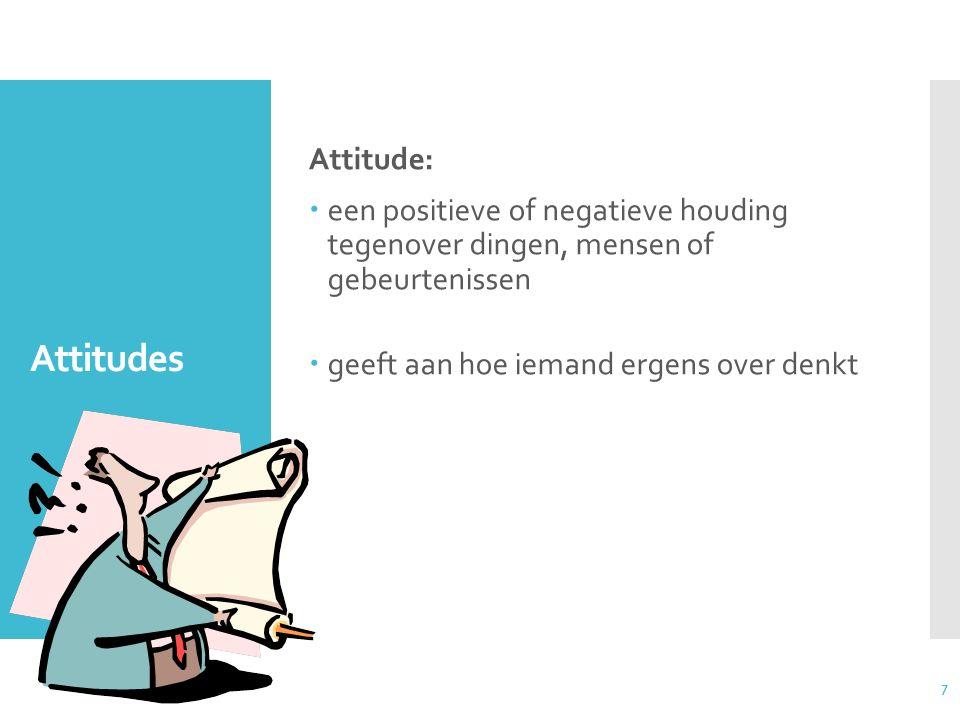 7 Attitudes Attitude:  een positieve of negatieve houding tegenover dingen, mensen of gebeurtenissen  geeft aan hoe iemand ergens over denkt