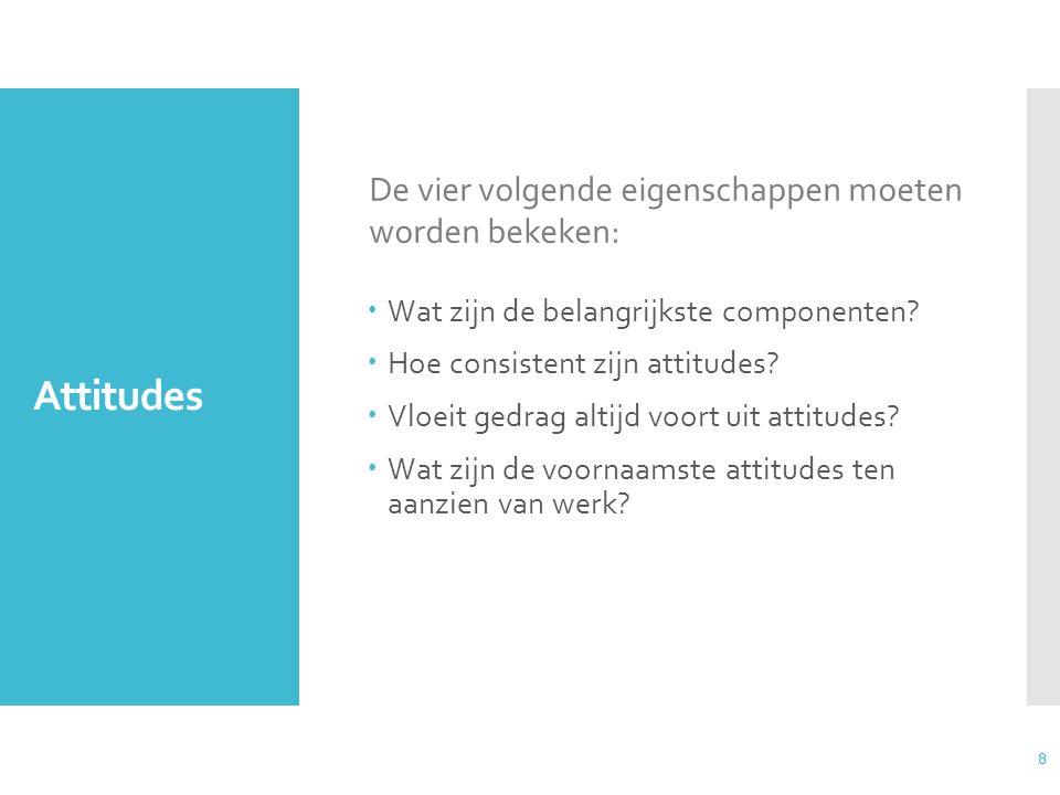8 Attitudes  Wat zijn de belangrijkste componenten?  Hoe consistent zijn attitudes?  Vloeit gedrag altijd voort uit attitudes?  Wat zijn de voorna