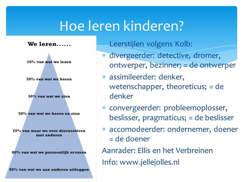 Hoe leren kinderen?  Leerstijlen volgens Kolb:  divergeerder: detective, dromer, ontwerper, bezinner; = de ontwerper  assimileerder: denker, wetens