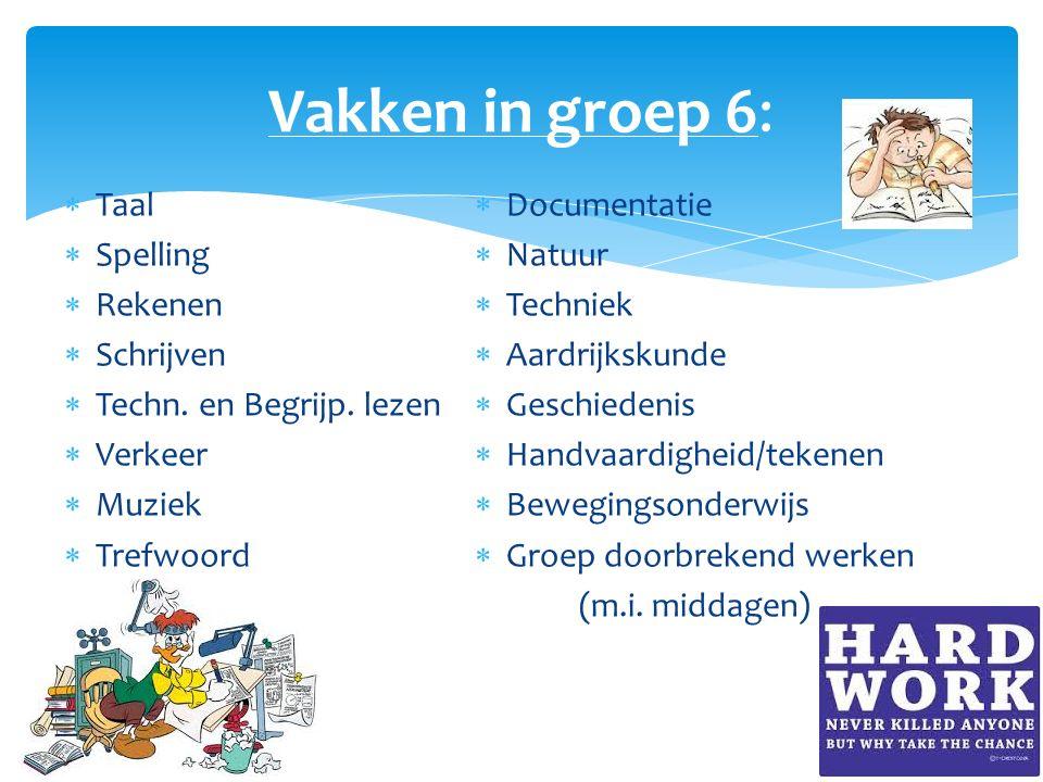 Vakken in groep 6:  Taal  Spelling  Rekenen  Schrijven  Techn. en Begrijp. lezen  Verkeer  Muziek  Trefwoord  Documentatie  Natuur  Technie