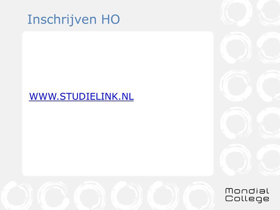 Inschrijven HO WWW.STUDIELINK.NL