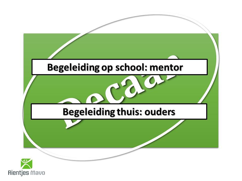 DecaanDecaan Begeleiding op school: mentor Begeleiding thuis: ouders