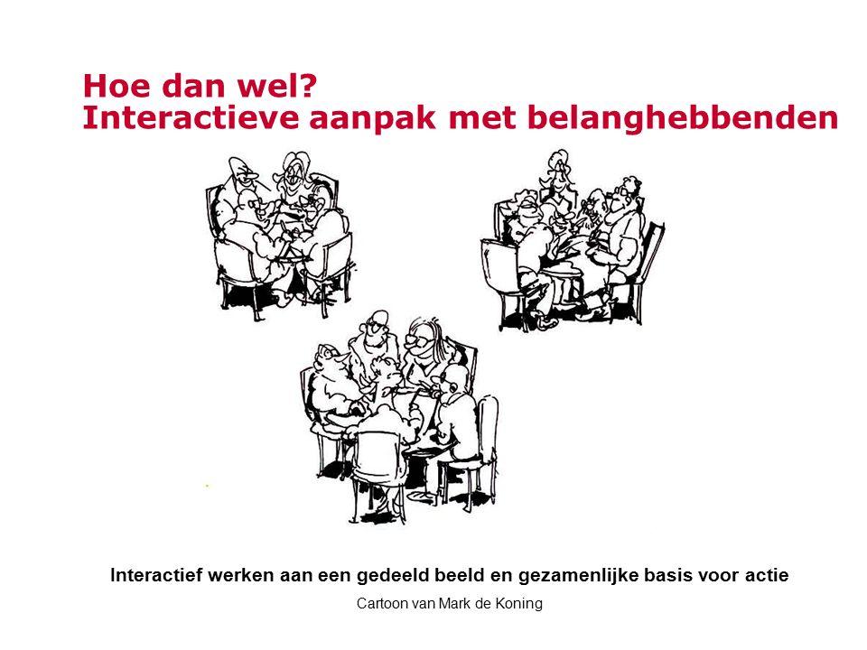Hoe dan wel? Interactieve aanpak met belanghebbenden Interactief werken aan een gedeeld beeld en gezamenlijke basis voor actie Cartoon van Mark de Kon