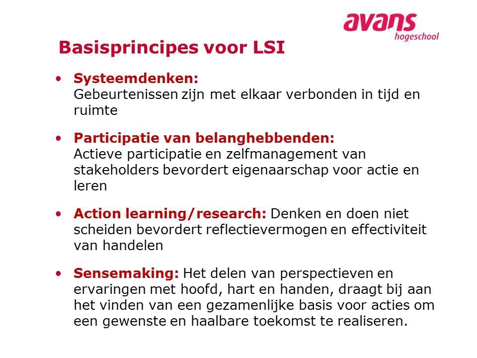 Basisprincipes voor LSI Systeemdenken: Gebeurtenissen zijn met elkaar verbonden in tijd en ruimte Participatie van belanghebbenden: Actieve participat