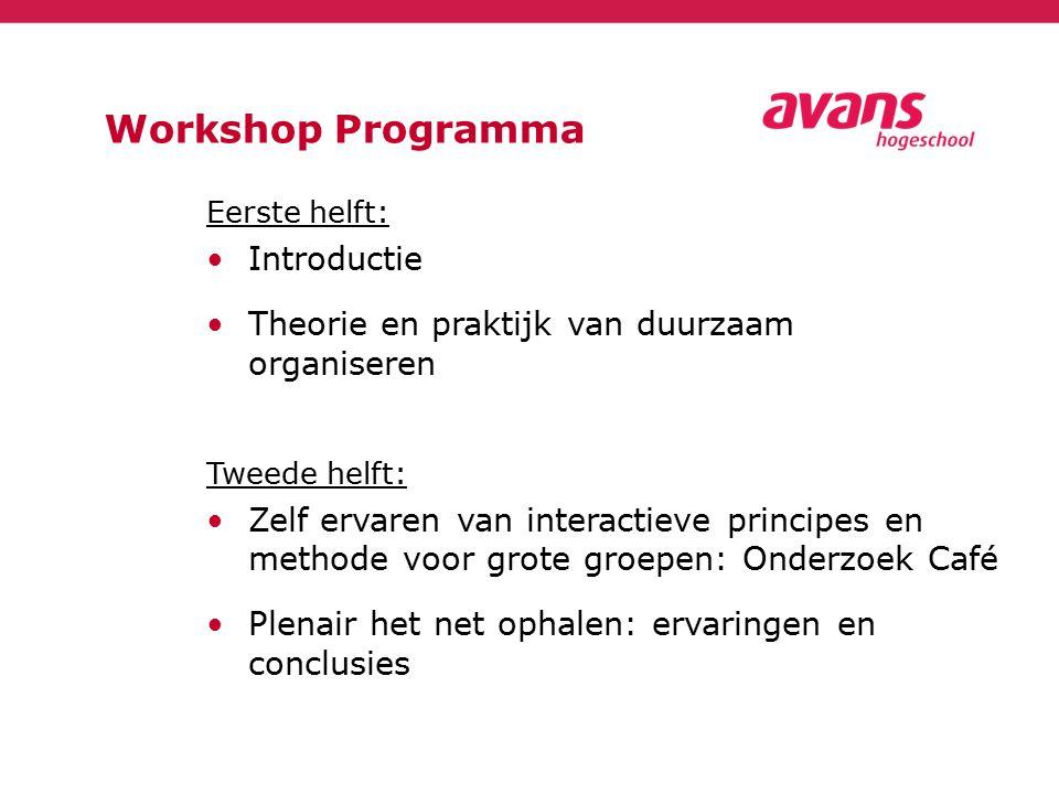 Workshop Programma Eerste helft: Introductie Theorie en praktijk van duurzaam organiseren Tweede helft: Zelf ervaren van interactieve principes en met