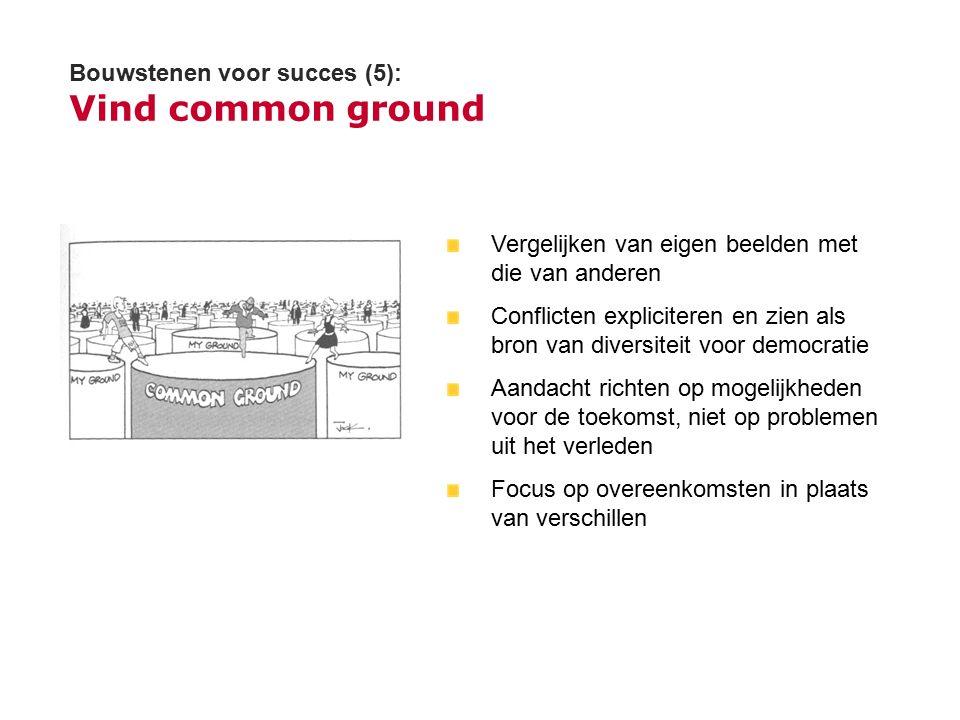 Bouwstenen voor succes (5): Vind common ground Vergelijken van eigen beelden met die van anderen Conflicten expliciteren en zien als bron van diversit