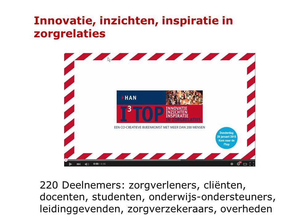 Innovatie, inzichten, inspiratie in zorgrelaties 220 Deelnemers: zorgverleners, cliënten, docenten, studenten, onderwijs-ondersteuners, leidinggevende