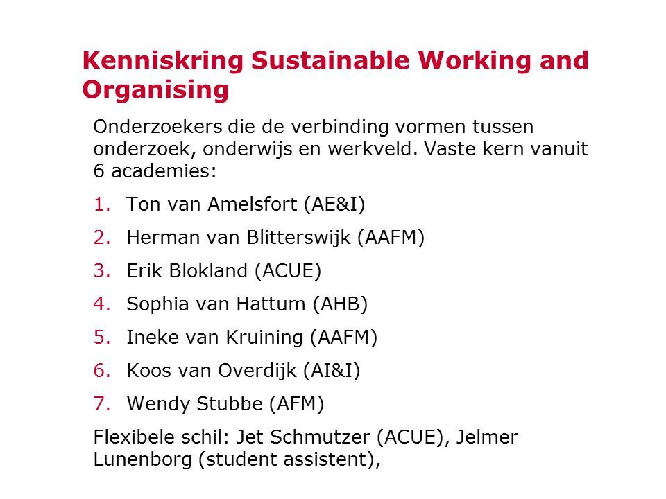 Kenniskring Sustainable Working and Organising Onderzoekers die de verbinding vormen tussen onderzoek, onderwijs en werkveld. Vaste kern vanuit 6 acad