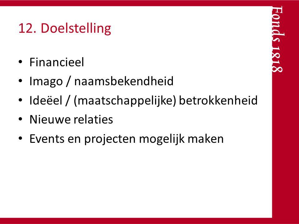 12. Doelstelling Financieel Imago / naamsbekendheid Ideëel / (maatschappelijke) betrokkenheid Nieuwe relaties Events en projecten mogelijk maken