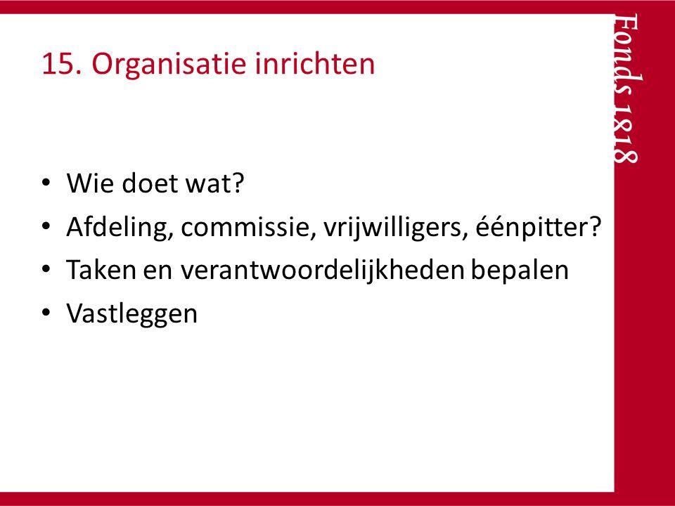 15. Organisatie inrichten Wie doet wat? Afdeling, commissie, vrijwilligers, éénpitter? Taken en verantwoordelijkheden bepalen Vastleggen
