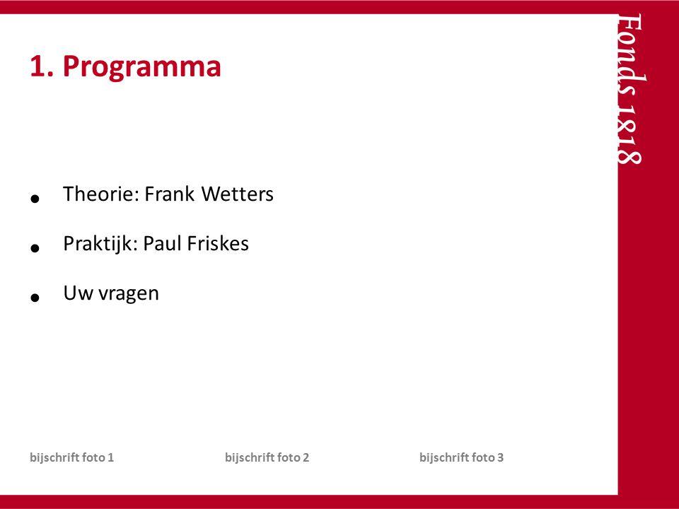 Theorie: Frank Wetters Praktijk: Paul Friskes Uw vragen bijschrift foto 1bijschrift foto 2bijschrift foto 3