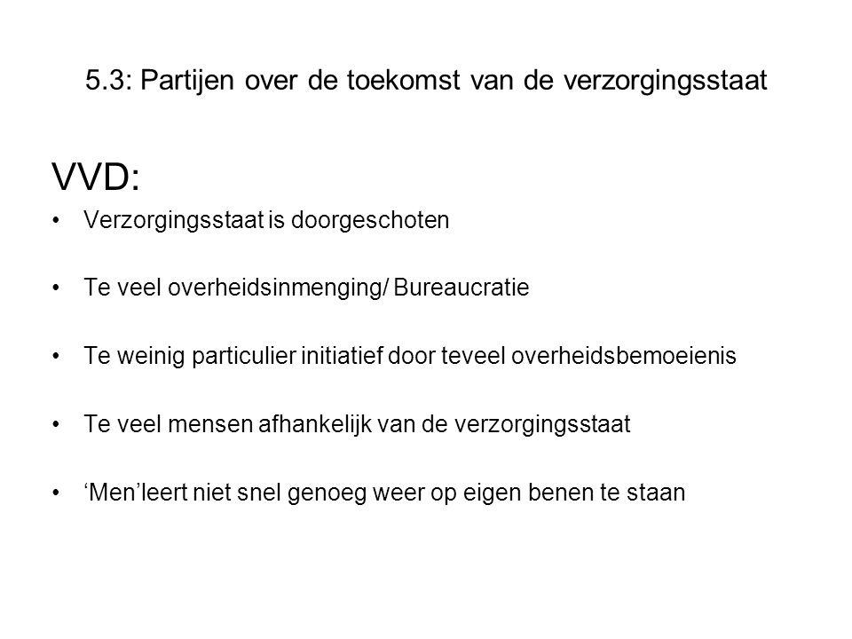 Maatregelen VVD Terugdringen van de overheiduitgaven Privatiseren van delen van overheidsinstellingen Deregulering Imkrimping van het omvangrijke ambtenarenapparaat