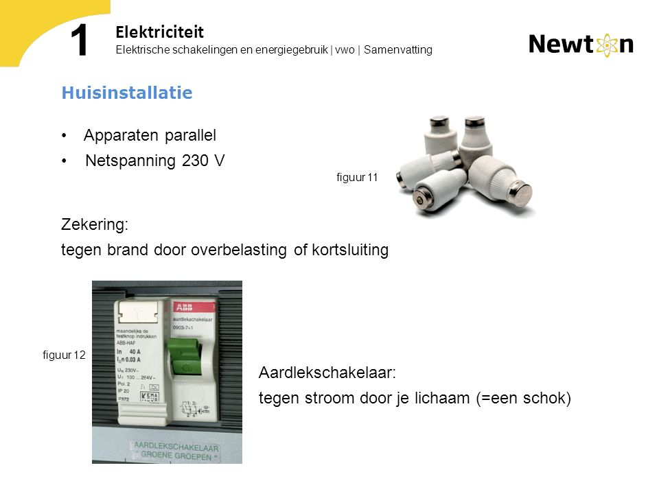 Elektrische schakelingen en energiegebruik | vwo | Samenvatting 1 Elektriciteit Huisinstallatie Apparaten parallel Netspanning 230 V Zekering: tegen b