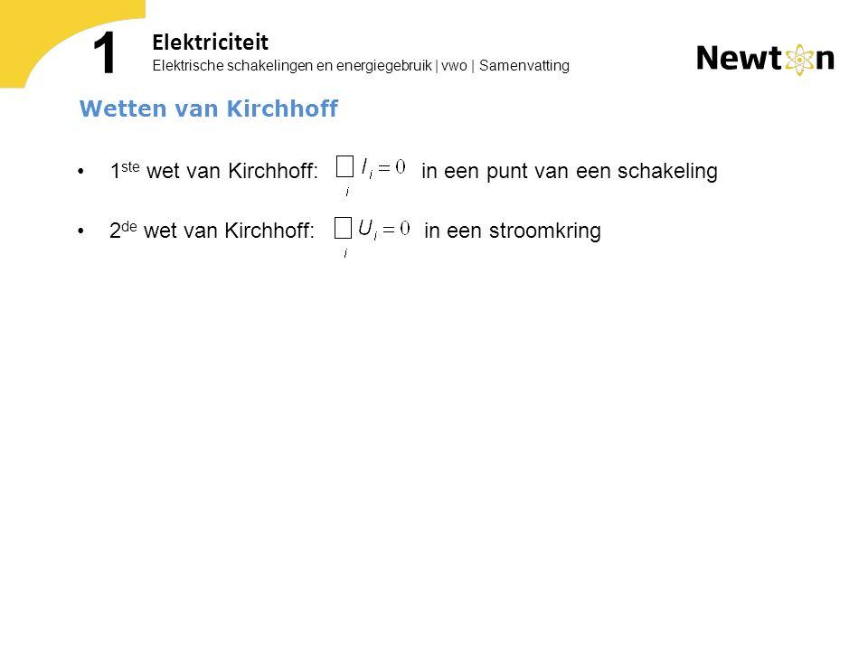 1 ste wet van Kirchhoff: in een punt van een schakeling 2 de wet van Kirchhoff: in een stroomkring Elektrische schakelingen en energiegebruik | vwo |