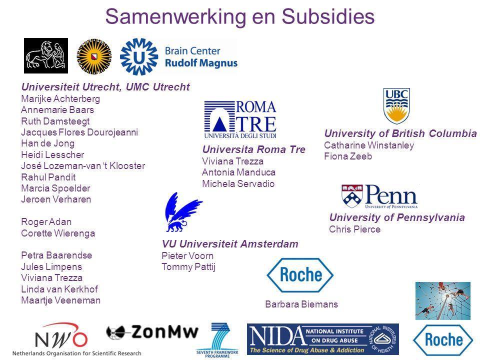 Samenwerking en Subsidies VU Universiteit Amsterdam Pieter Voorn Tommy Pattij Universiteit Utrecht, UMC Utrecht Marijke Achterberg Annemarie Baars Rut