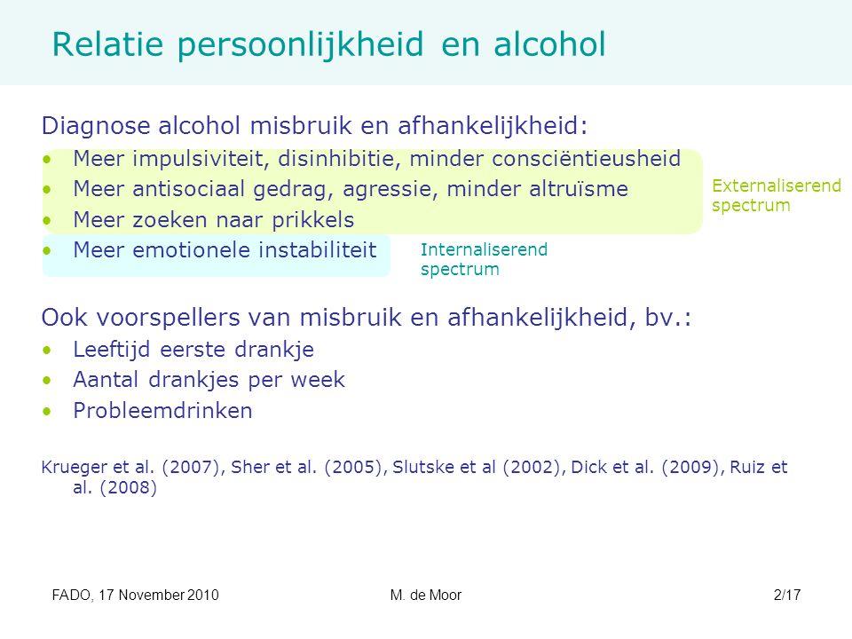 FADO, 17 November 2010M. de Moor2/17 Relatie persoonlijkheid en alcohol Diagnose alcohol misbruik en afhankelijkheid: Meer impulsiviteit, disinhibitie