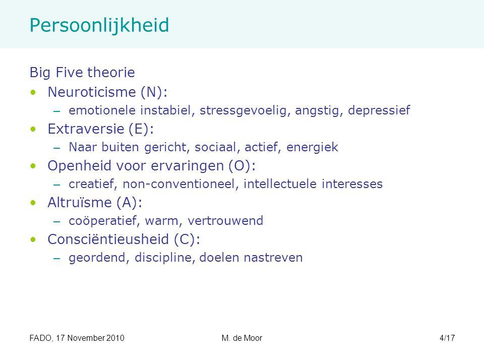 FADO, 17 November 2010M. de Moor4/17 Persoonlijkheid Big Five theorie Neuroticisme (N): – emotionele instabiel, stressgevoelig, angstig, depressief Ex
