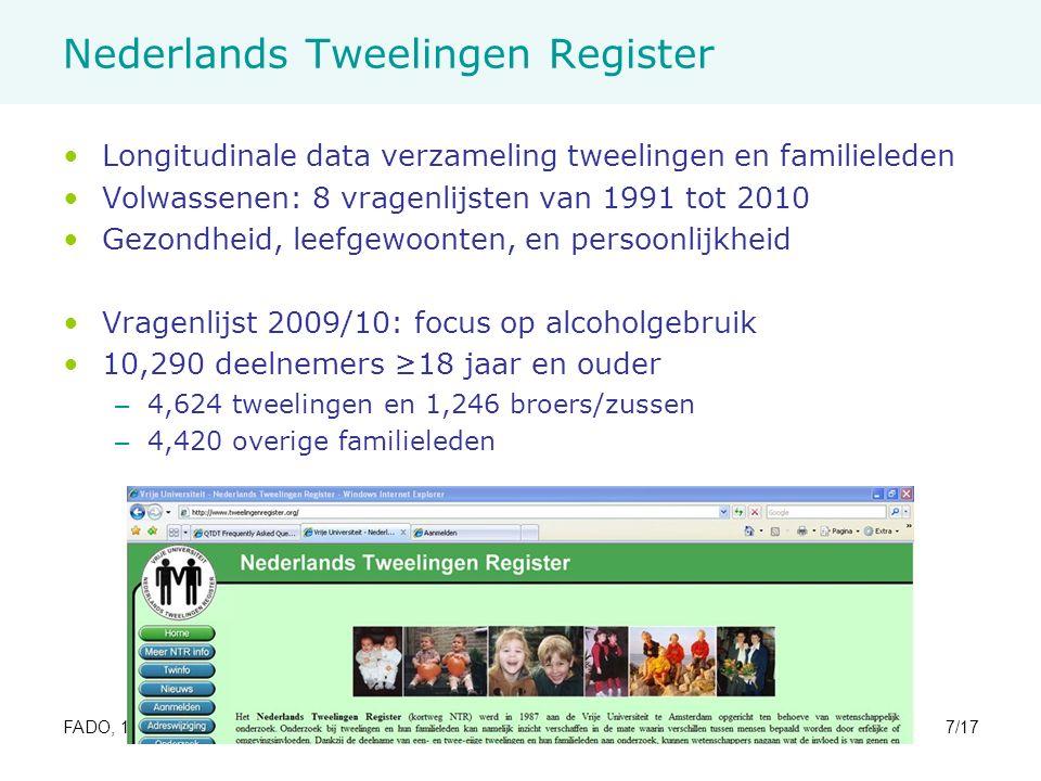 FADO, 17 November 2010M. de Moor7/17 Nederlands Tweelingen Register Longitudinale data verzameling tweelingen en familieleden Volwassenen: 8 vragenlij