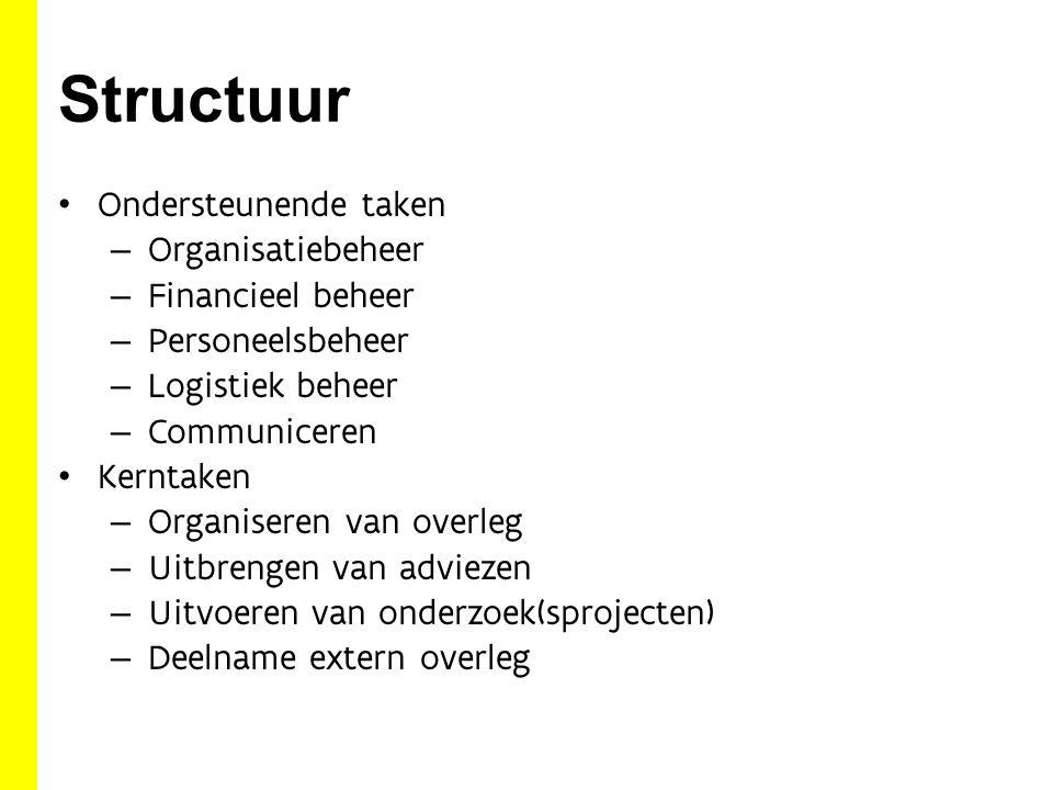 Structuur Ondersteunende taken – Organisatiebeheer – Financieel beheer – Personeelsbeheer – Logistiek beheer – Communiceren Kerntaken – Organiseren van overleg – Uitbrengen van adviezen – Uitvoeren van onderzoek(sprojecten) – Deelname extern overleg