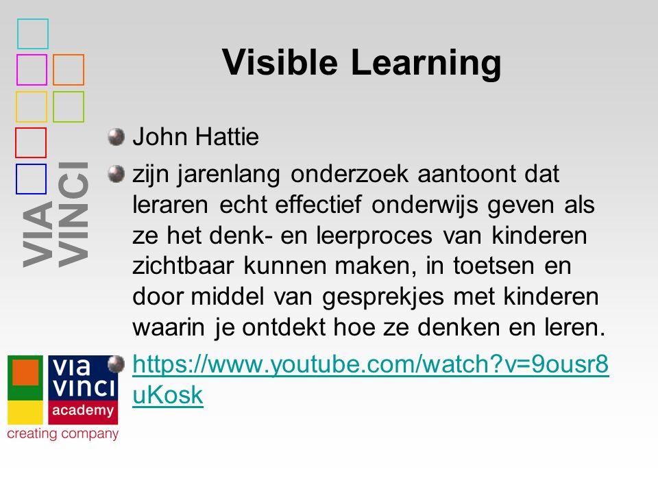 VIAVINCI Visible Learning John Hattie zijn jarenlang onderzoek aantoont dat leraren echt effectief onderwijs geven als ze het denk- en leerproces van kinderen zichtbaar kunnen maken, in toetsen en door middel van gesprekjes met kinderen waarin je ontdekt hoe ze denken en leren.