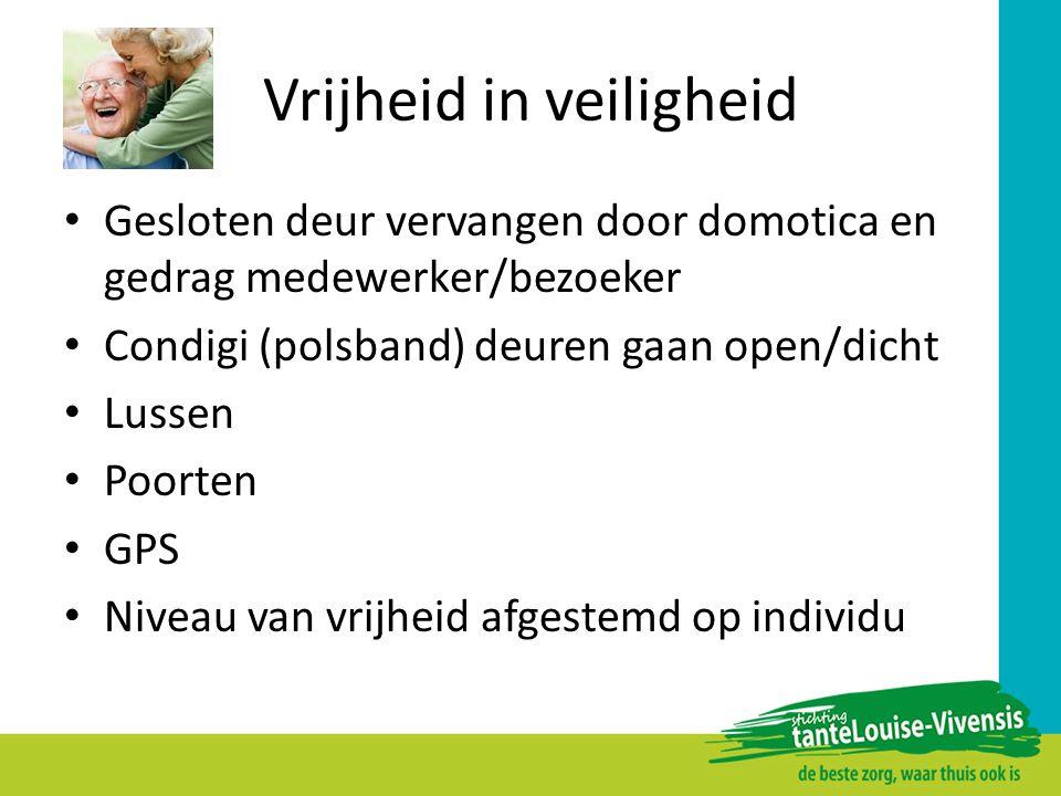 Vrijheid in veiligheid Gesloten deur vervangen door domotica en gedrag medewerker/bezoeker Condigi (polsband) deuren gaan open/dicht Lussen Poorten GP