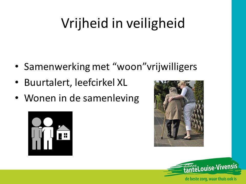 """Vrijheid in veiligheid Samenwerking met """"woon""""vrijwilligers Buurtalert, leefcirkel XL Wonen in de samenleving"""