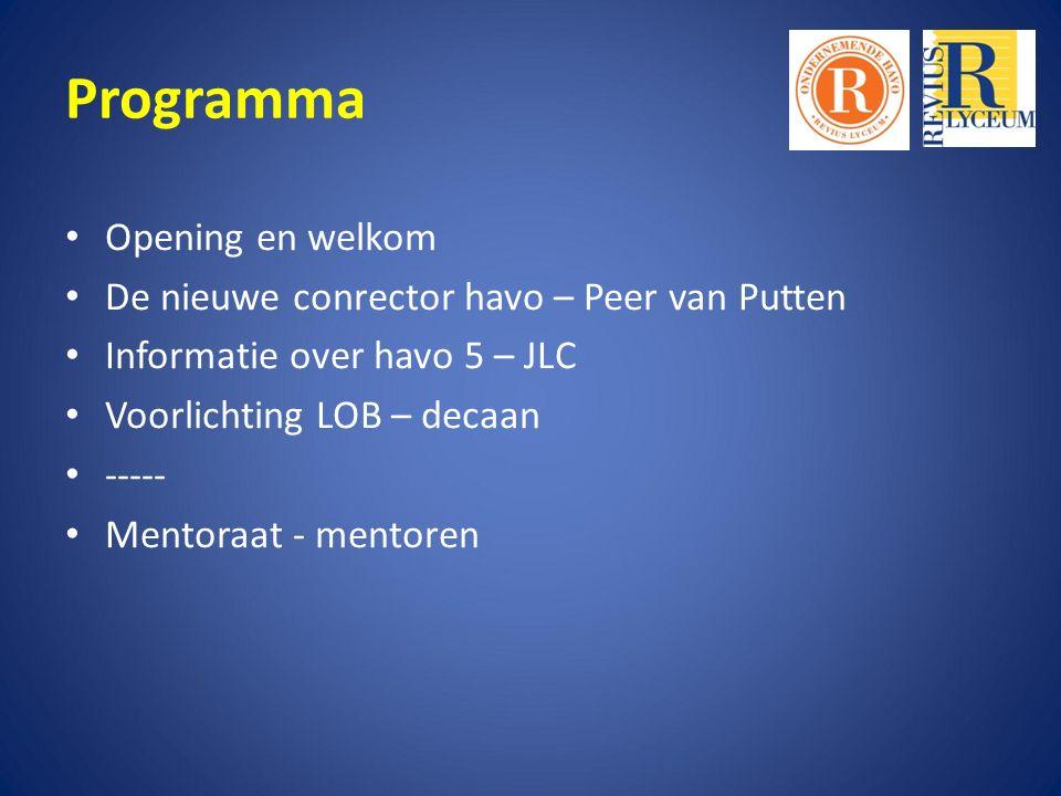 Programma Opening en welkom De nieuwe conrector havo – Peer van Putten Informatie over havo 5 – JLC Voorlichting LOB – decaan ----- Mentoraat - mentoren