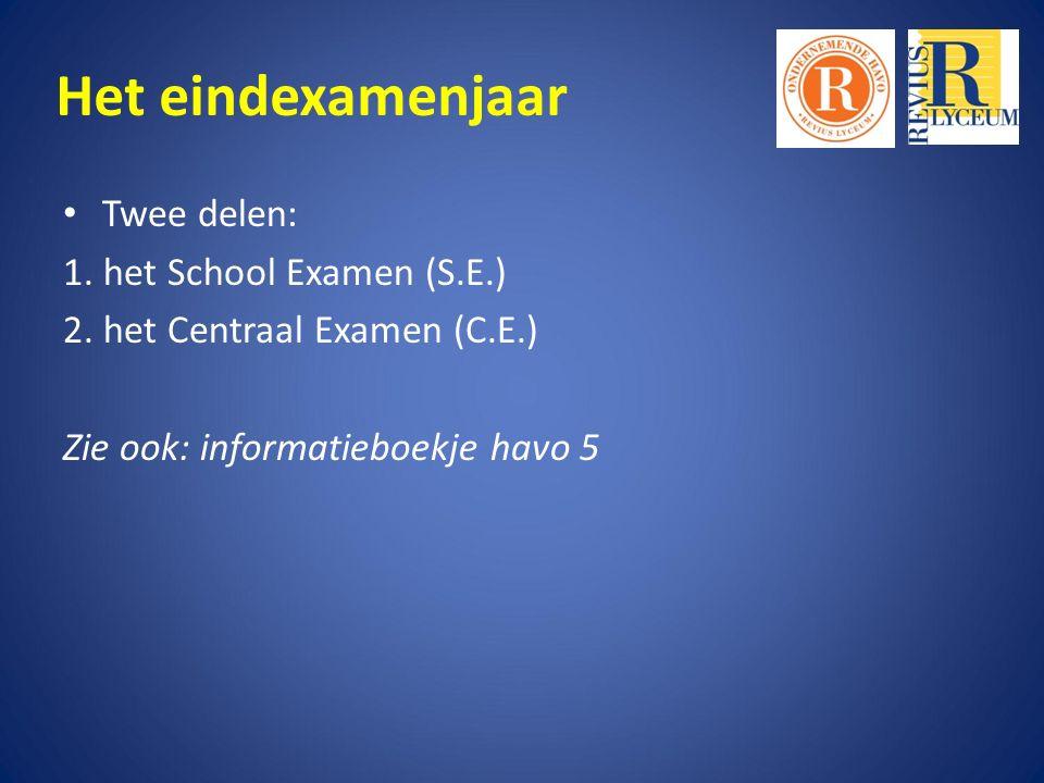 Het eindexamenjaar Twee delen: 1. het School Examen (S.E.) 2.