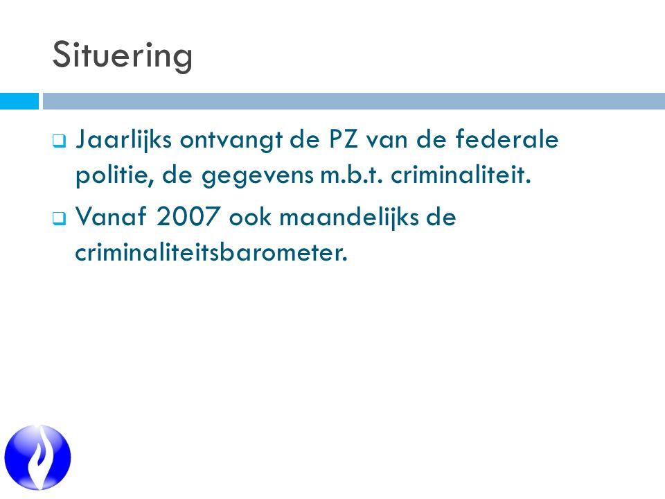 Situering  Jaarlijks ontvangt de PZ van de federale politie, de gegevens m.b.t. criminaliteit.  Vanaf 2007 ook maandelijks de criminaliteitsbaromete