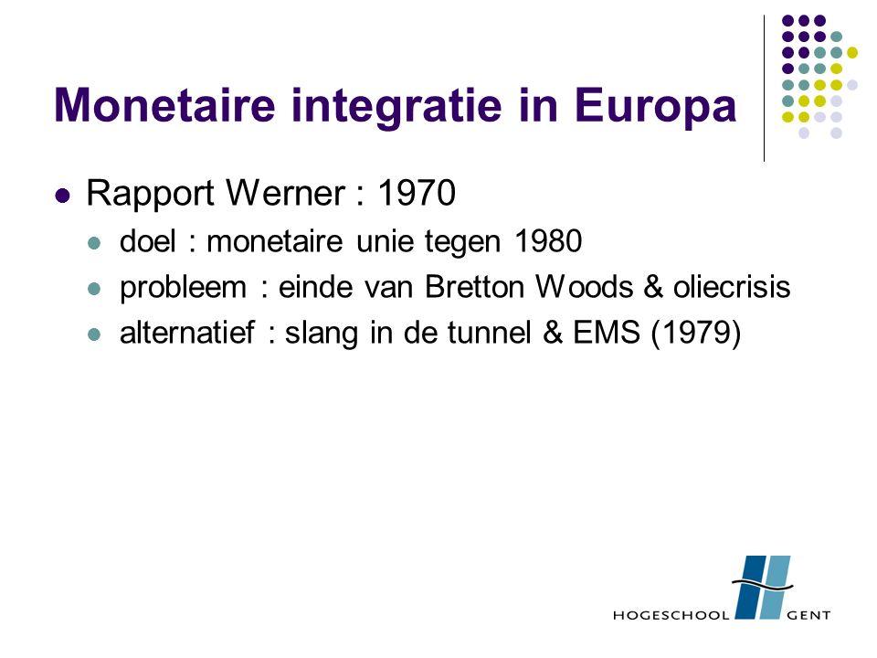 Monetaire integratie in Europa Rapport Werner : 1970 doel : monetaire unie tegen 1980 probleem : einde van Bretton Woods & oliecrisis alternatief : slang in de tunnel & EMS (1979)