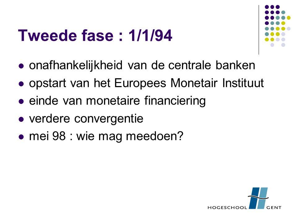 Tweede fase : 1/1/94 onafhankelijkheid van de centrale banken opstart van het Europees Monetair Instituut einde van monetaire financiering verdere convergentie mei 98 : wie mag meedoen?