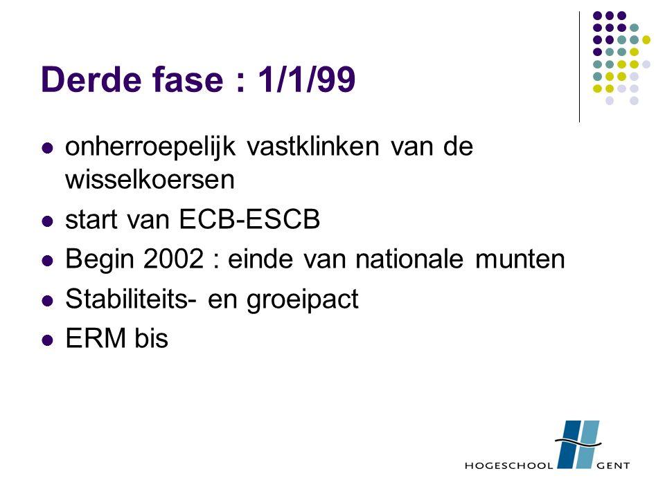 Derde fase : 1/1/99 onherroepelijk vastklinken van de wisselkoersen start van ECB-ESCB Begin 2002 : einde van nationale munten Stabiliteits- en groeipact ERM bis