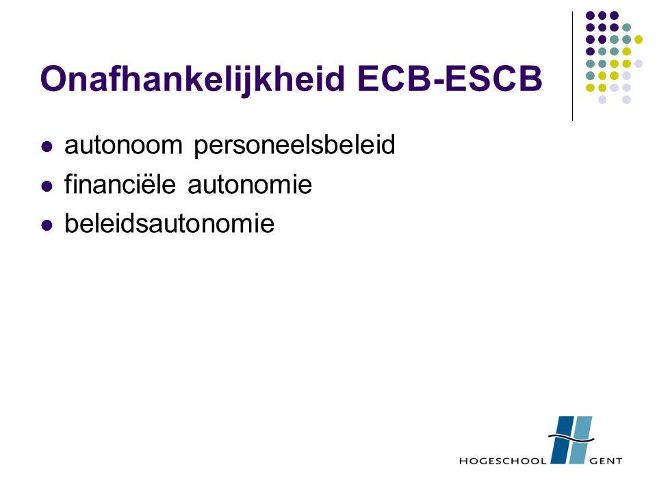 Onafhankelijkheid ECB-ESCB autonoom personeelsbeleid financiële autonomie beleidsautonomie
