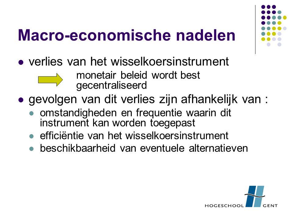 Macro-economische nadelen verlies van het wisselkoersinstrument monetair beleid wordt best gecentraliseerd gevolgen van dit verlies zijn afhankelijk van : omstandigheden en frequentie waarin dit instrument kan worden toegepast efficiëntie van het wisselkoersinstrument beschikbaarheid van eventuele alternatieven