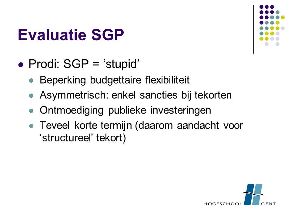 Evaluatie SGP Prodi: SGP = 'stupid' Beperking budgettaire flexibiliteit Asymmetrisch: enkel sancties bij tekorten Ontmoediging publieke investeringen Teveel korte termijn (daarom aandacht voor 'structureel' tekort)
